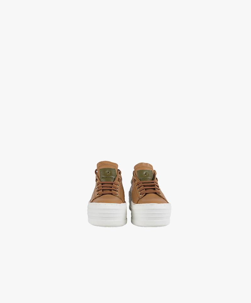 Thick-soled leather sneaker – beige